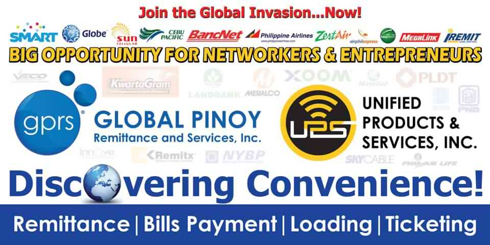 global pnoy remittance services unified product negosyo franchise business