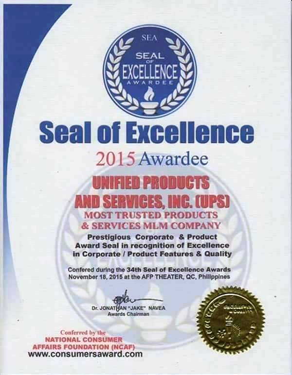 Seal Of Excellence MLM unified products and services main office official web site negosyo business franchise online home based Philippines emmanuel manny pascual