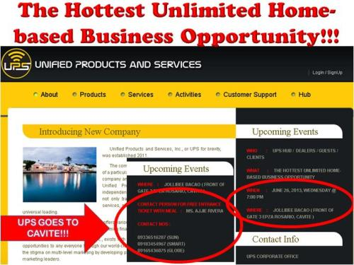 UPS Unified Products Services Cavite Home Based Business Opportunity Negosyo Franchise