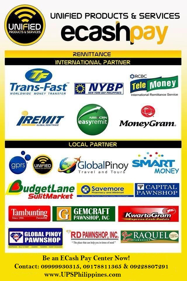 ecash pay unified products services negosyo business franchise Philippines